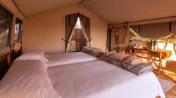 Camp Maru tent beds Okavango Delta