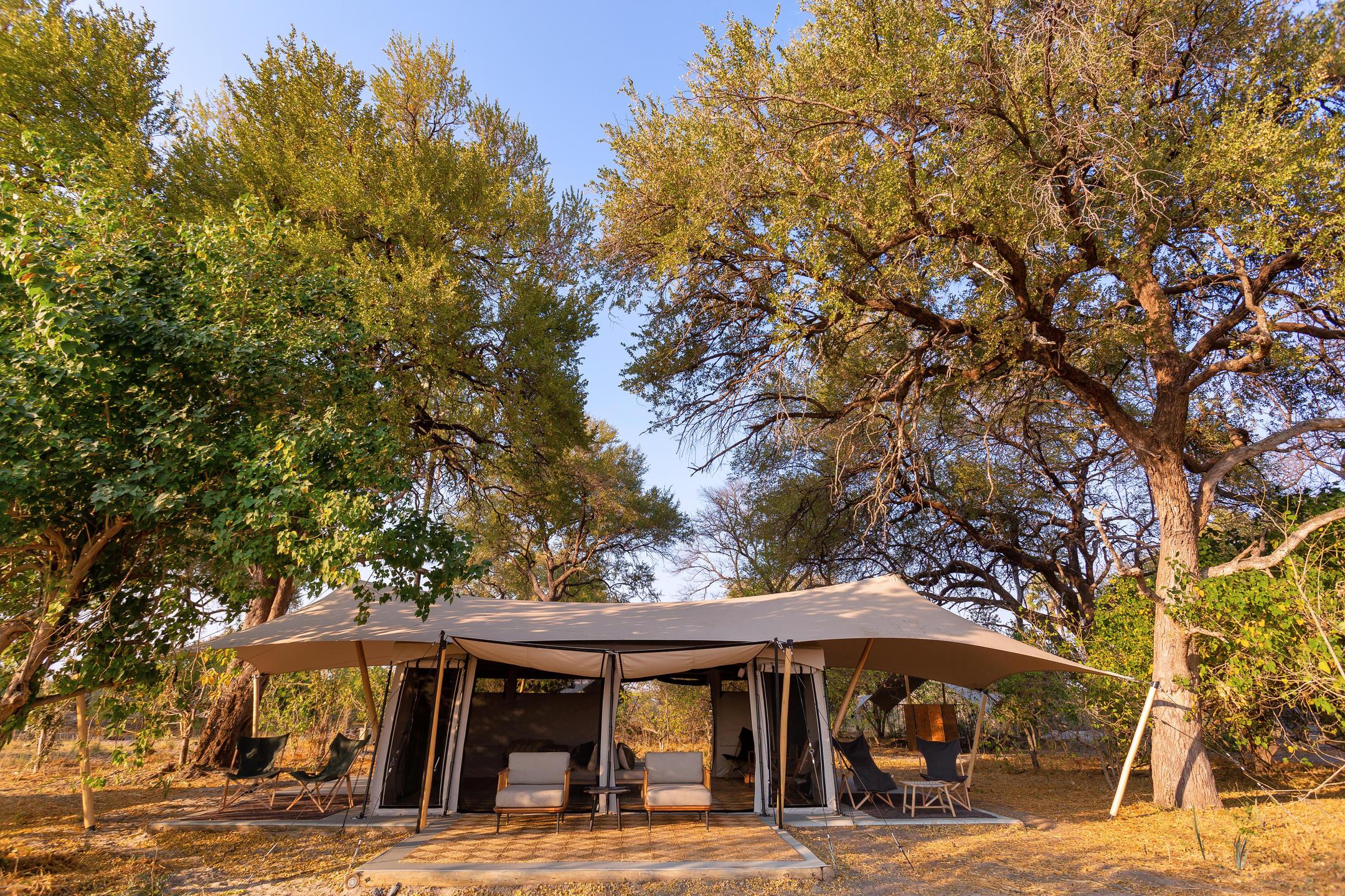 Camp Maru tent exterior Okavango Delta