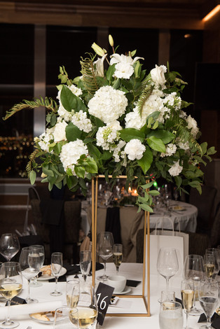Skirvin OKC - Tall Centerpiece - White Floral - Gold Stand