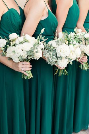 Summer Wedding - All White Bouquets - Emerald Dresses - OKC - Gaillardia
