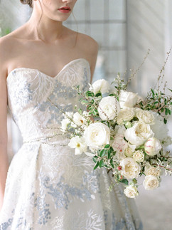 All White Bouquet - Spirea - Garden Roses - Peonies - French - OKC