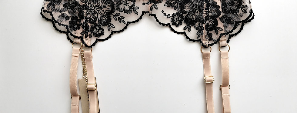 Floral Tattoo Suspender Belt