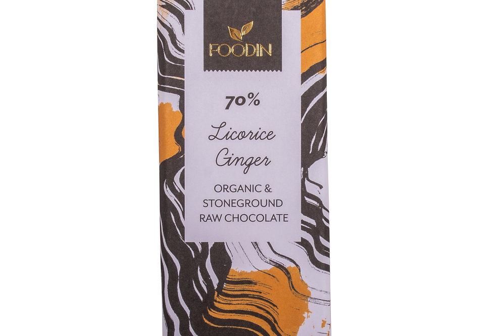 Foodin Raakasuklaa Licorice-Ginger 70%, luomu 40 g