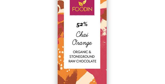 Foodin Raakasuklaa Chai-orange 52%, luomu 40g