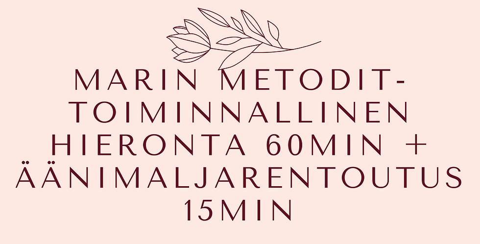Lahjakortti MarinMetodit-hieronta 60min + äänimaljarentoutus 15min