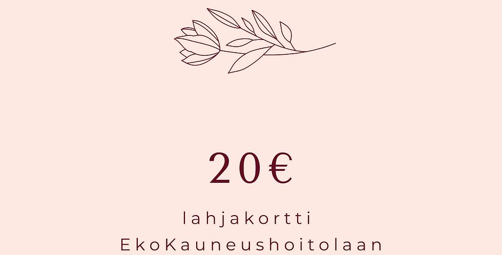 Lahjakortti 20€ hoitola & Shop