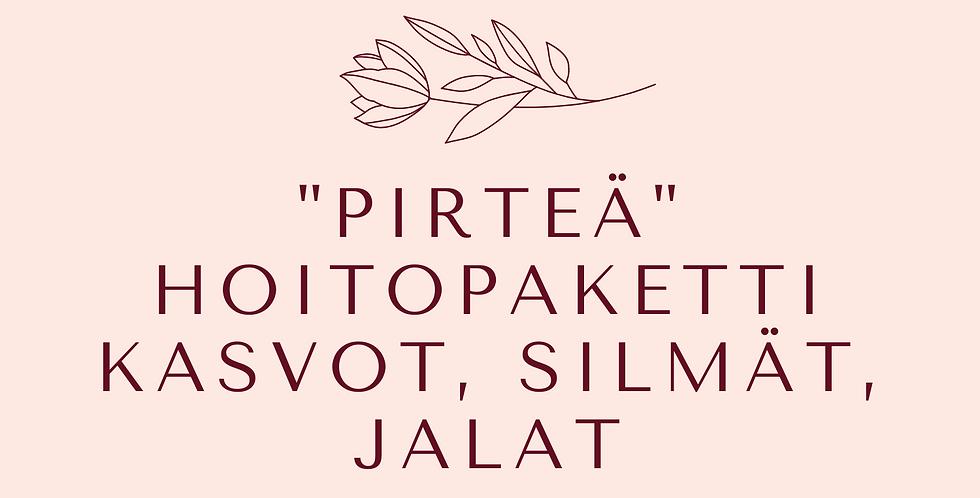 """Lahjakortti """"Pirteä""""Hoitopaketti Kasvohoito, Lash Lift kestotaivutus &Jalkahoito"""