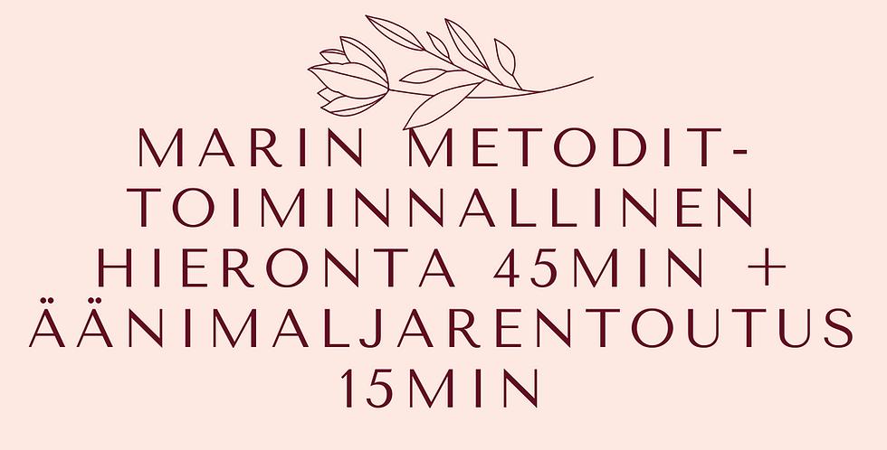 Lahjakortti MarinMetodit-hieronta 45min + äänimaljarentoutus 15min