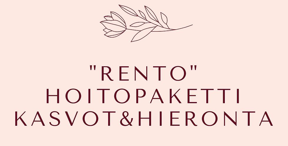 "Lahjakortti ""Rento"" Hoitopaketti Kasvohoito& Aromahieronta"