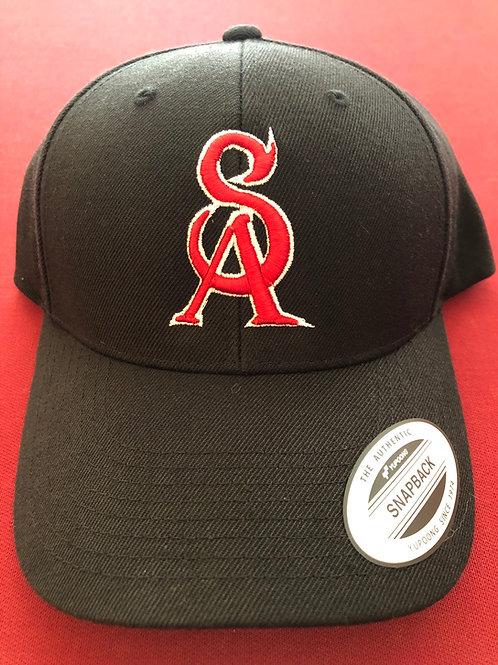 Black SA Baseball Logo hat - with Smokin Armadillos on back!