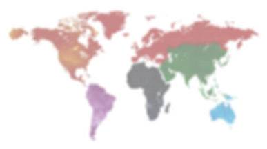 dotted and painted colorful world map is