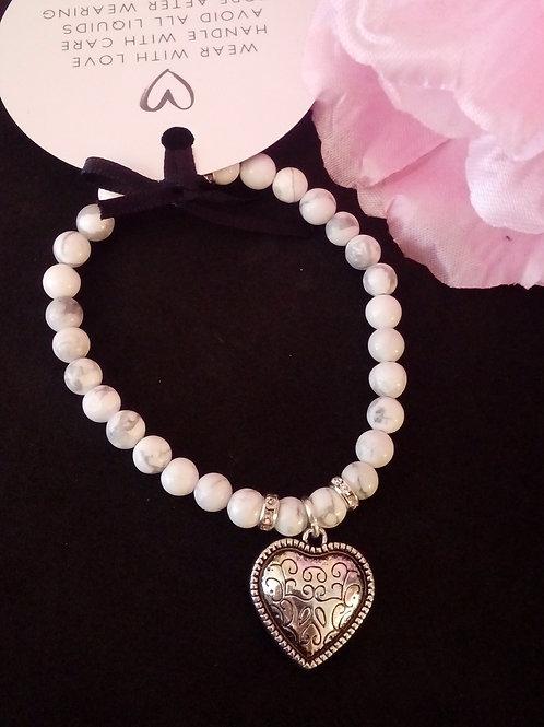 White Howlite Heart Bracelet