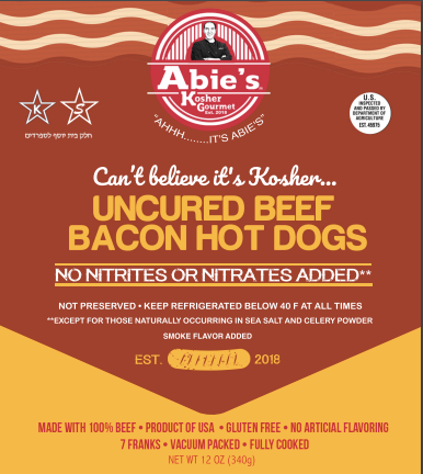"Abie's Uncured Beef ""Bacon"" Flavored Franks (CONCEPT)"