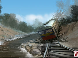 Apocalyptic Train Forest Concept Art Painting