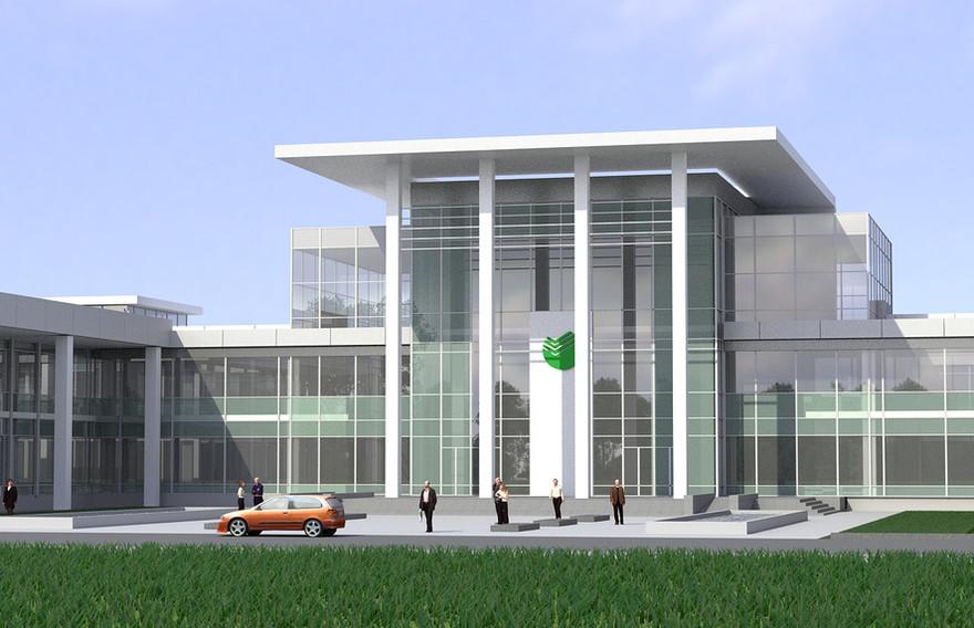 Визуализация фасада офиса Сбербанк