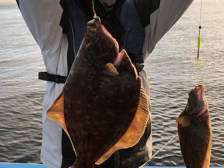 スタッフ山上がお客様3人と知内沖のマコガレイ釣り