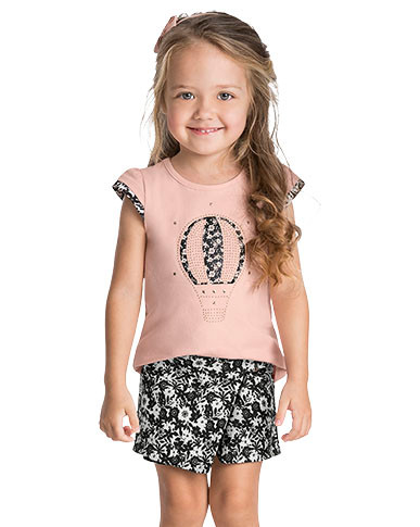 10797 - conjunto blusa cotton  e shorts