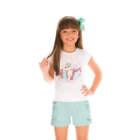 29286 - conj blusa em cotton e shorts em