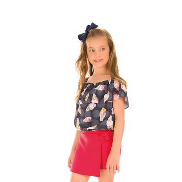 29281 - conj blusa em crepe e short saia