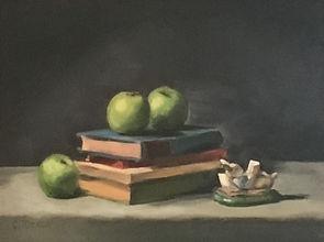 Green Apples Rabbit Figurine Painting