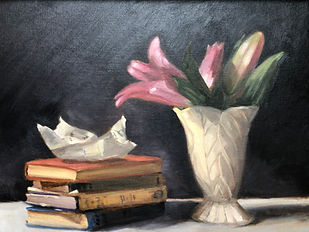 Lilies with Letter Painting