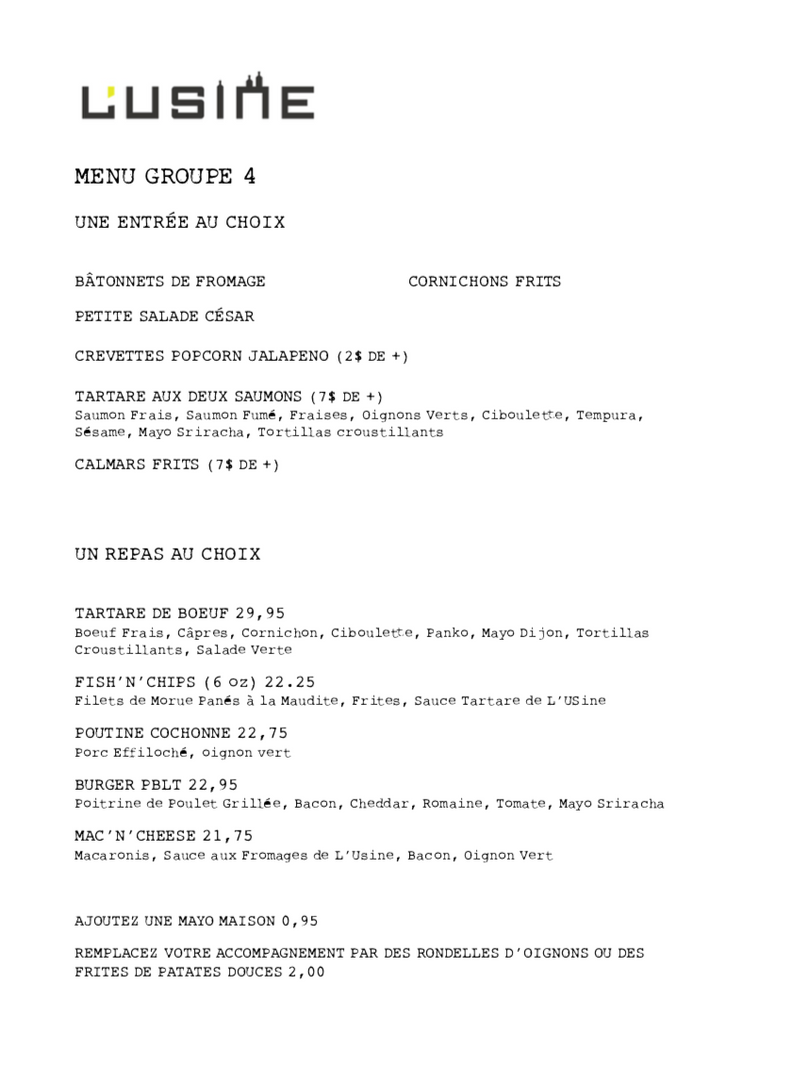 Menu Groupe 4
