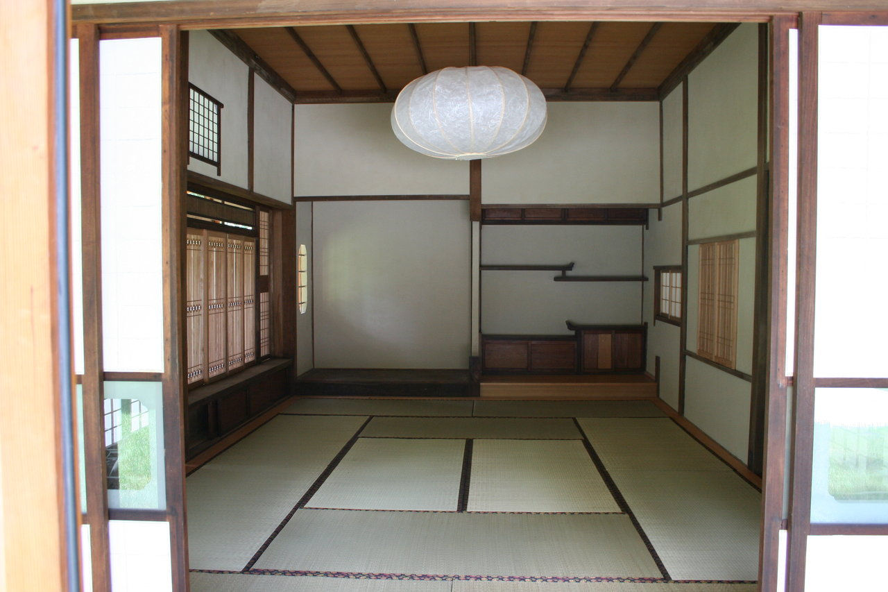 Custom Anese Architectural Woodworking Tea House Interior Featuring Shoji Screens Stucco Wara