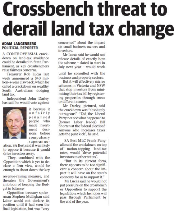 Crossbench threat to derail land tax change