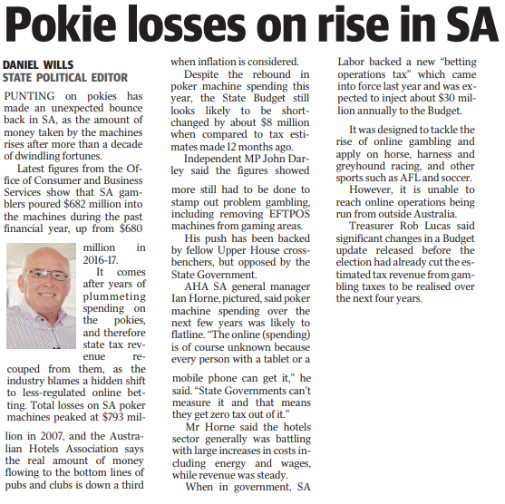 Pokie losses on rise in SA