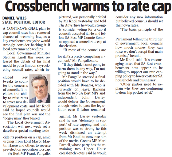 Crossbench Warms to Rate Capping