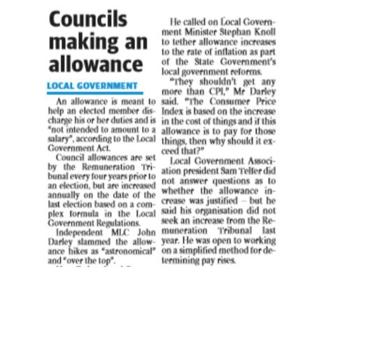 Councils making an allowance