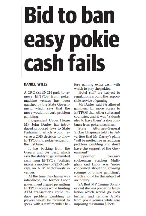Bid to Ban Easy Pokie Cash Fails