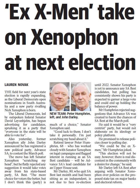 Ex X men take on Xenophon at next election