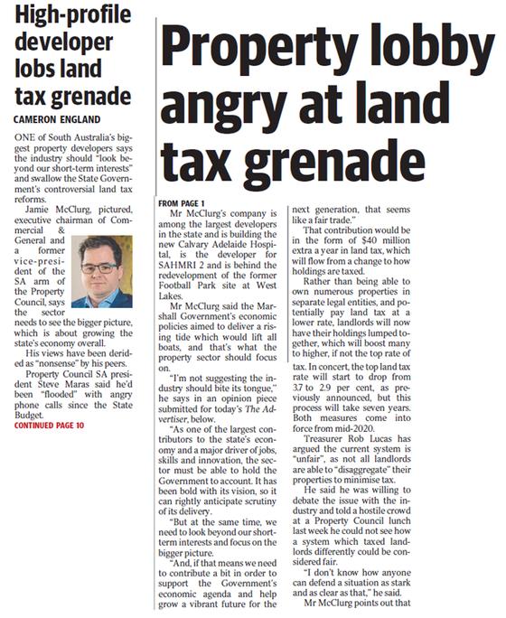 Property lobby angry at land tax grenade