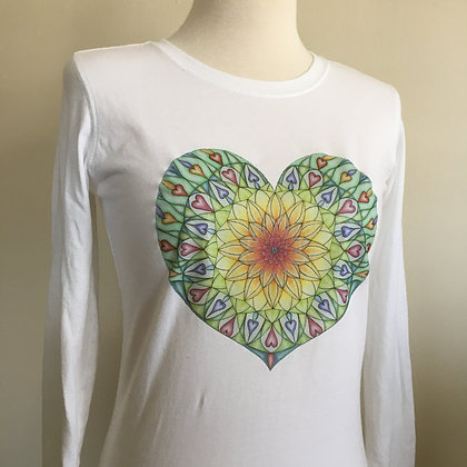 Adiatma Heart Mandala, Organic Cotton Long Sleeve Ladies T-shirt