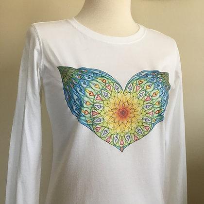 Adiatma Winged Heart Mandala, Organic Cotton Long Sleeve Ladies T-shirt