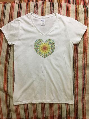 Adiatma Heart Mandala Short Sleeve V-Neck Tee
