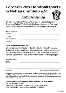 Beitrittserklärung HSV-Hochfranken Förderverein Handball