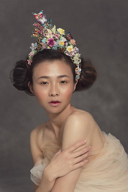 Empress Butterfly Hair Swirls Print