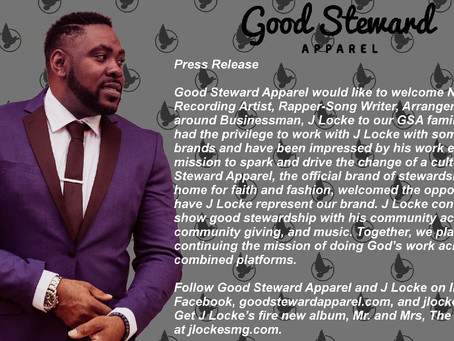 We are proud to announce J.Locke is the new brand ambassador for Good Steward Apparel!
