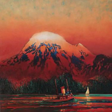 Mount Baker and Vintage Tug