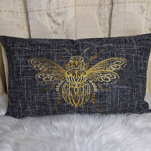 """Embroidered """"Bumble Bee"""" Cushion"""