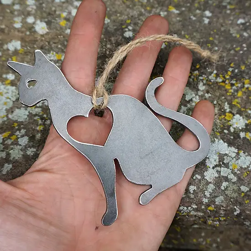 Cat Ornament w/ Heart made from recycled steel