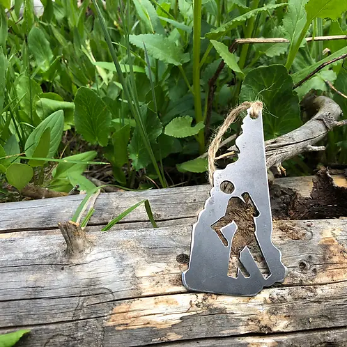 New Hampshire State Hiker Ornament made from Recycled Steel