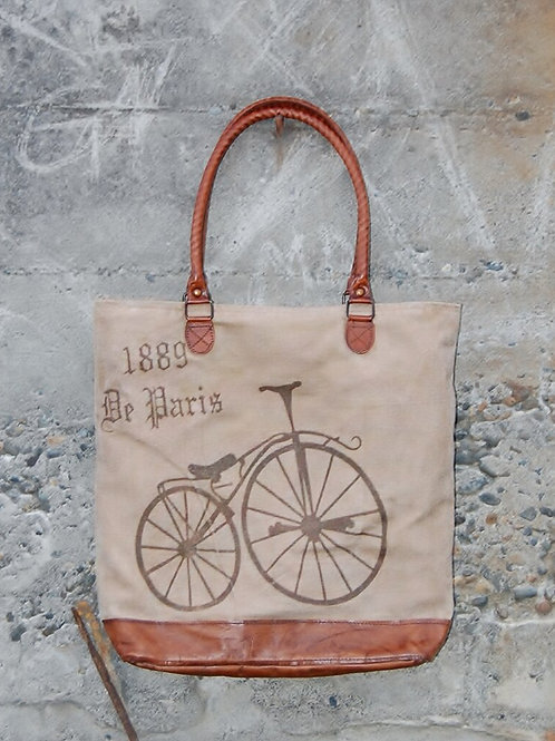 Tote Bicycle Leather Bottom