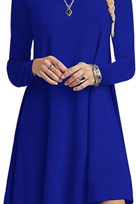 Long Sleeve Tunic Dress - Royal Blue