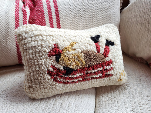 Small Sled Hooked Wool Pillow