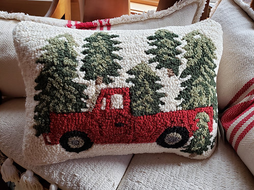 Red Truck Hooked Wool Pillow