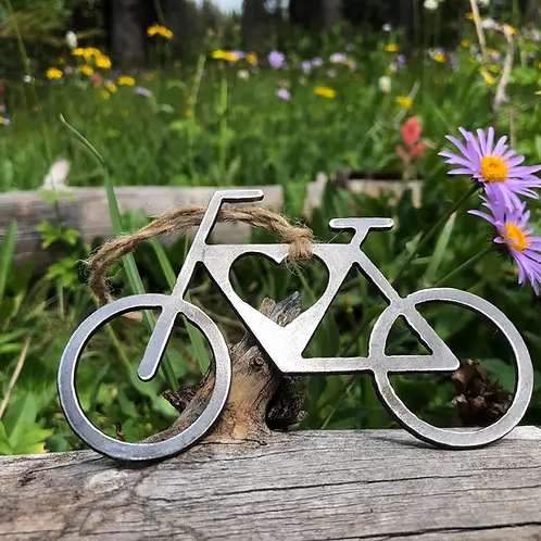 Bicycle Christmas Ornament with Heart Bike Cycling