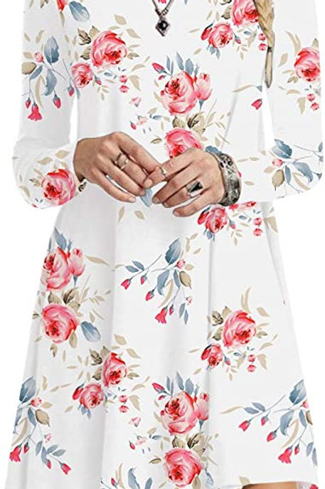Long Sleeve Tunic Dress - White Floral